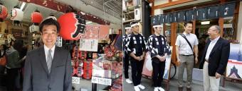 (左)浅草観光連盟会長 冨士さん。(右)観光連盟副会長の川上さんのお店の前で、川上さんとメンバー、西村。(2013年)